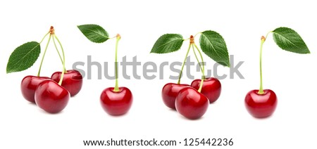 Collage from ripe cherry - stock photo
