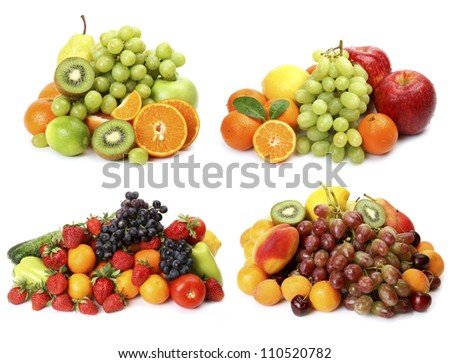 Collage from ripe fruit and berries - stock photo