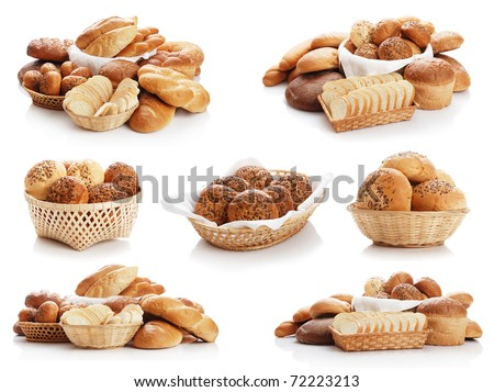 Collage from the different bread on a white background