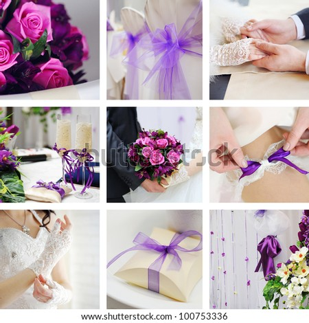 Collage from wedding photos - stock photo