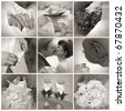 Collage from wedding photos. Nine in one. Sepia toned - stock photo