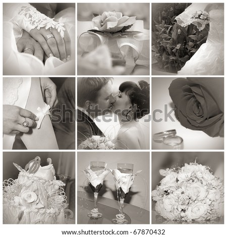 Collage from wedding photos. Nine in one. Sepia toned