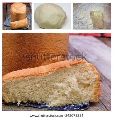collage grain wheat flour dough yeast homemade bread baking organic product eco vintage retro old soft selective focus toned photo