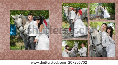 Collage - groom and the bride during walk in their wedding day against a grey horse - stock photo