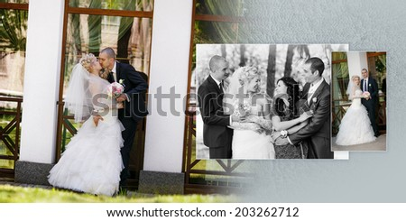 Collage - groom and the bride the best man with the witness during walk in their wedding day - stock photo