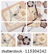 collage - hand made scrapbooking post card lying on a table - stock photo