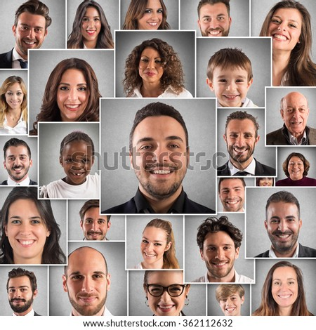 Collage happy people - stock photo