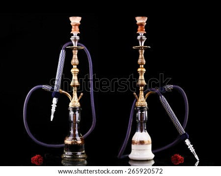 collage hookah on a black background - stock photo