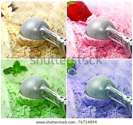 collage Ice Cream scoop - stock photo