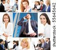 Collage illustrates finance, communication, interaction, business lifestyle - stock photo