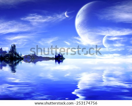 Collage - landscape in fantasy planet - stock photo