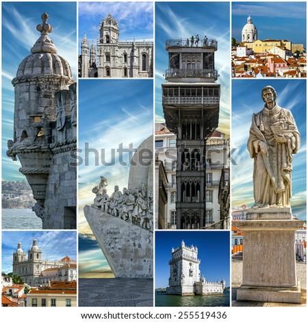 Collage - Lisbon landmarks - stock photo