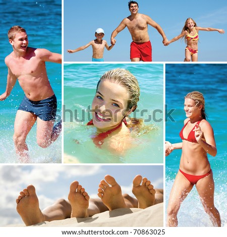 Collage made of images of people on the beach - stock photo