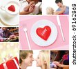 Collage made of images of valentines and love concepts - stock photo
