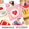 Collage made of images of valentines and love metaphors - stock photo