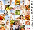 Collage made of many images about sport, health, dieting and nutrition - stock photo
