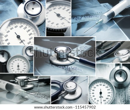 Collage made of medical elements - stock photo