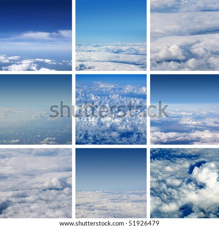Collage made of nine air shoots. Very good as illustration. - stock photo