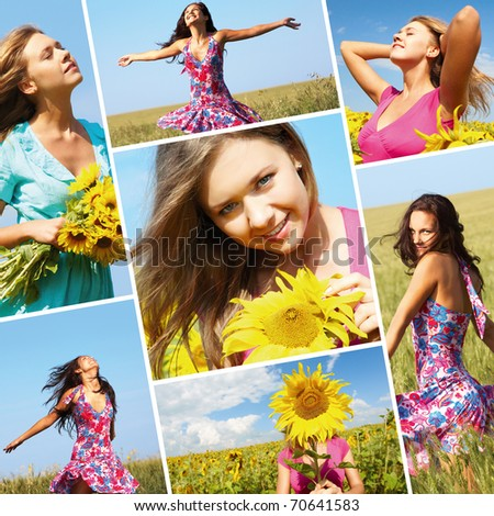 Collage made of photos with beautiful woman among sunflowers - stock photo