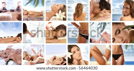 Collage made of some spa pictures - stock photo