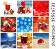 Collage made with christmas shots and illustrations - stock photo