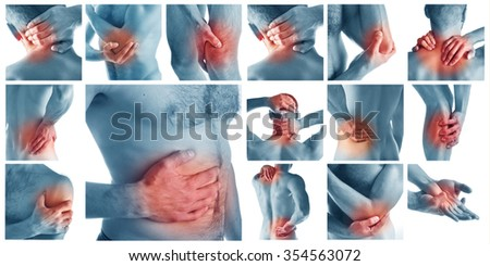 Collage  man having pain at several part of body - stock photo