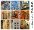 Collage. Martin Moniz brave knight in the gate of the castle of St. George and other pictures of Lisbon. - stock photo