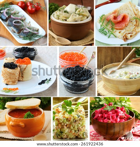 collage menu of Russian and Ukrainian food (dumplings, borsch, okroshka, herring) - stock photo