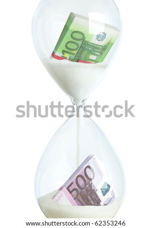 Collage - money in hourglass as the concept of banking financial investment, color image isolated on a white background - stock photo