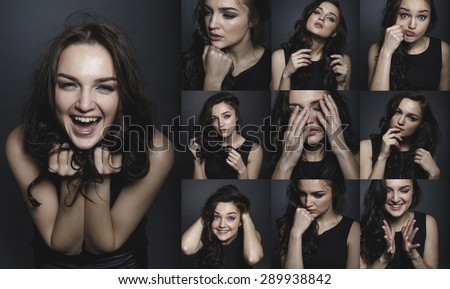 Collage. Mosaic. Happy girl excited. Young woman smiling very happy surprised holding head being amazed on grey background. Funky young Caucasian female model joyful on grey background. - stock photo