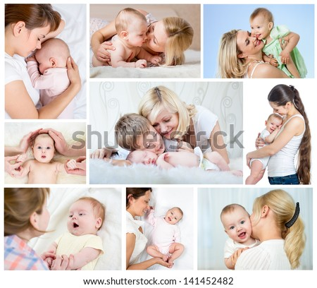 Collage mother's day concept. Loving moms with babies. - stock photo