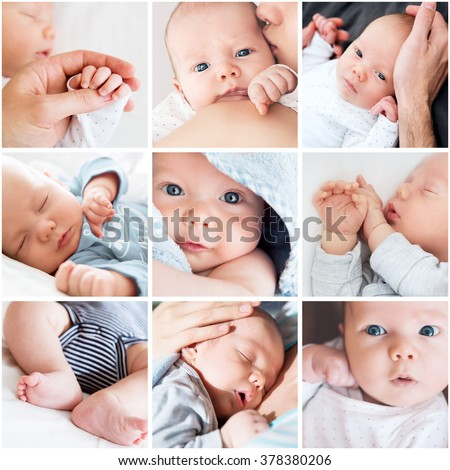 Collage newborn baby's photos - stock photo