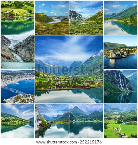 Collage - Norway landscapes - stock photo