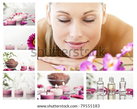 Collage of a beautiful blond woman relaxing in a spa center - stock photo