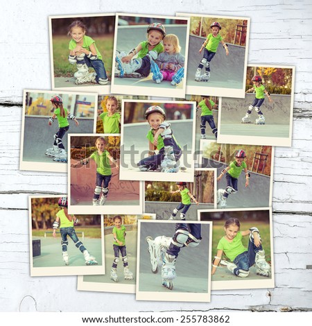 collage of a beautiful little girl on roller skates  on wooden table - stock photo