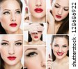 collage of a beautiful woman with perfect clean skin - stock photo