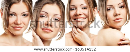 collage of a beautiful woman with perfect clean skin on white background