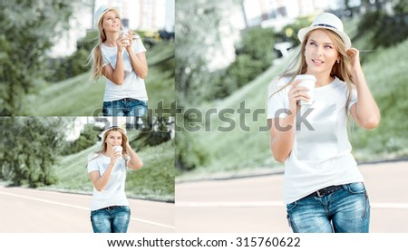 Collage of a beautiful young woman with a takeaway coffee cup, walking on the road, drinking coffee, and smiling against road background. - stock photo