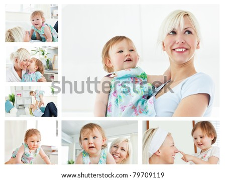 Collage of a blonde woman holding a baby in the living room in her apartment