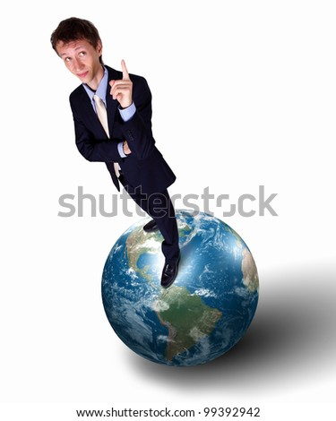 Collage of a businessman with our planet earth