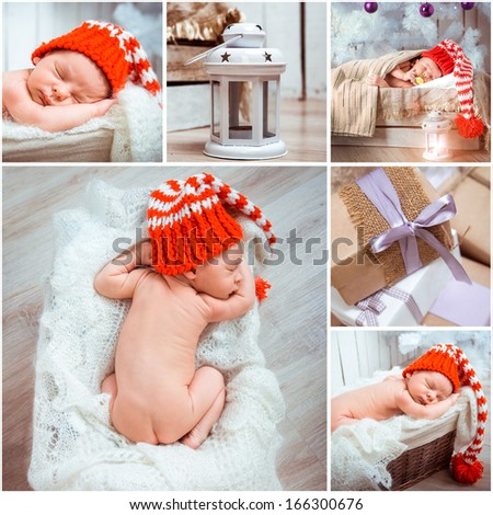 Collage of a christmass newborn baby photos  - stock photo