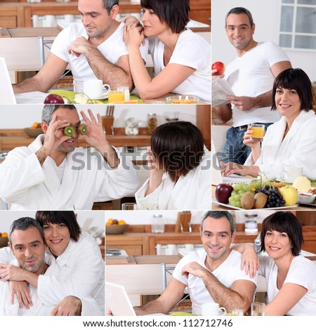 Collage of a couple having breakfast - stock photo