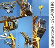 Collage of a crane - stock photo