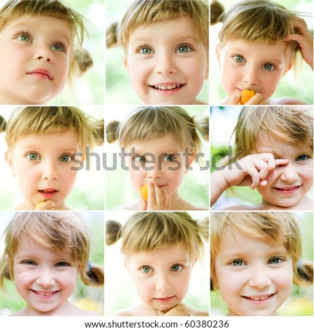 collage of a cute liitle gir's photos close-up - stock photo