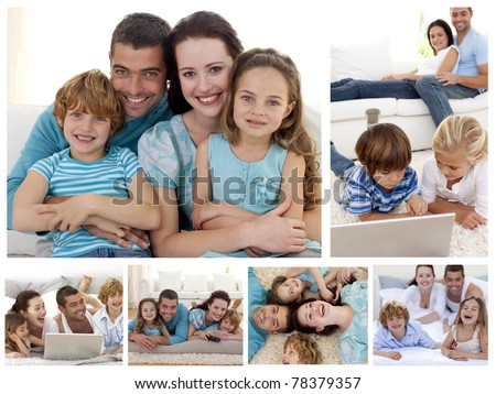 Collage of a family spending moments together at home - stock photo