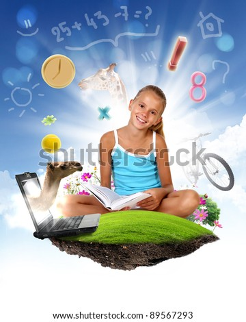 Collage of a little school girl and education objects and symbols - stock photo