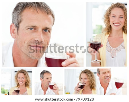 Collage of a man and a woman holding a glass of red wine in the living room in their apartment