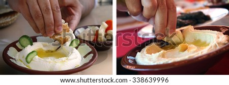 Collage of a man dipping a pita bread slice in traditional hummus and Labneh plates.