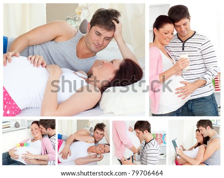 Collage of a pregnant couple - stock photo