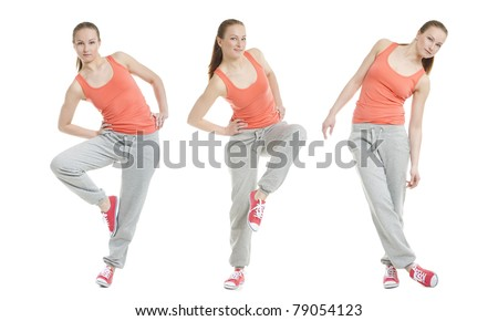 Collage of a pretty girl doing fitness - stock photo